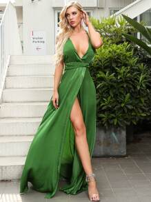 Missord Lace Up Backless Wrap Hem Velvet Cami Prom Dress