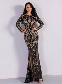 Missord Zip Back Maxi Sequin Bodycon Prom Dress