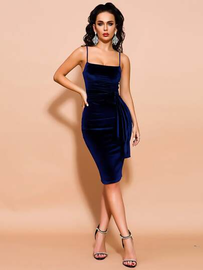Missord Tie Waist Zip Back Velvet Cami Dress