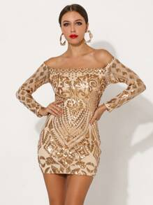 Missord Off Shoulder Sequin Bodycon Dress