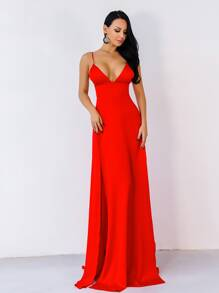 Missord Split Thigh Plunge Neck Maxi Cami Prom Dress