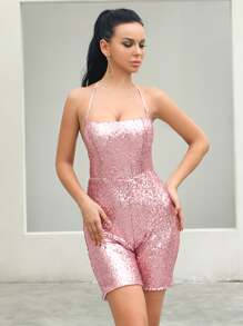 Missord Halterneck Backless Sequin Romper