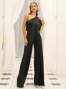 Missord One Shoulder Asymmetrical Wrap Wide Leg Jumpsuit