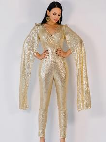 Missord Extra Long Split Sleeve Sequin Jumpsuit