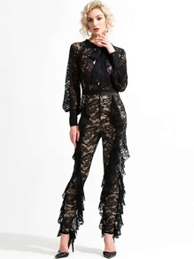 Missord Tie Neck Ruffle Trim Sheer Lace Jumpsuit