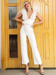 Missord Plunge Neck Mesh Knotted Shoulder Frill Jumpsuit