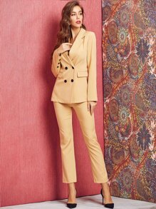 SBetro Double Button Blazer & Tailored Pants Set