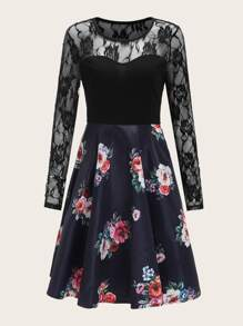 Lace Panel Floral Swing Combo Dress
