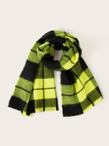Plaid Pattern Neon Yellow Scarf