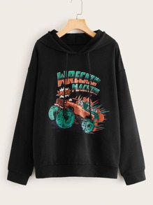 Car And Letter Graphic Drawstring Hoodie