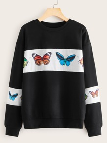 Butterfly Graphic Colorblock Sweatshirt