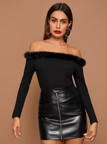 Off Shoulder Contrast Faux Fur Tee