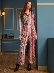 Button Front Snakeskin Print Wide Leg Jumpsuit