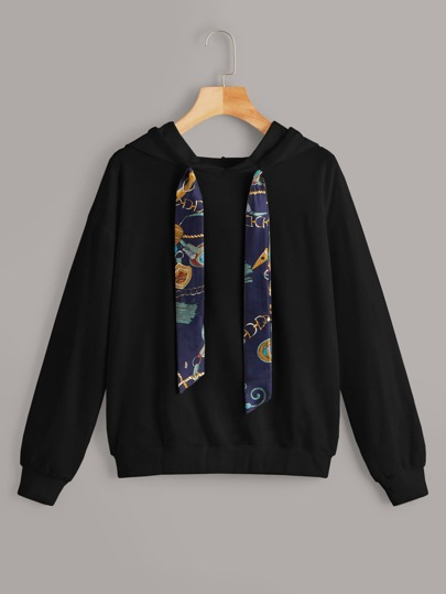Chain Print Drawstring Hooded Sweatshirt