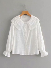 Peter Pan Collar Flounce Sleeve Blouse