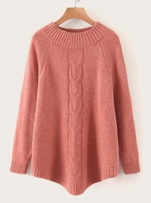 Raglan Sleeve Cable Knit Jumper