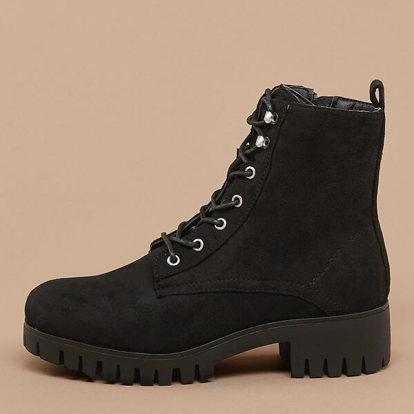 Lace Front Lug Sole Short Combat Boots, Black