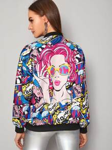 Cartoon & Letter Graphic Zip Up Bomber Jacket