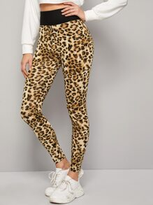 Leopard Print Wide Waistband Cropped Leggings