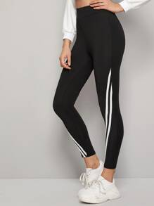 Side Stripe Tape Cropped Leggings