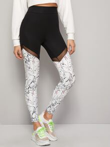 Color-Block Contrast Sheer Mesh Leggings