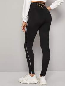 Contrast Binding Solid High Waist Leggings