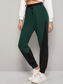 Cut And Sew Drawstring Waist Joggers