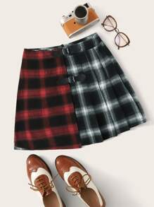 Color-Block Plaid Buckle Tape Detail Skirt