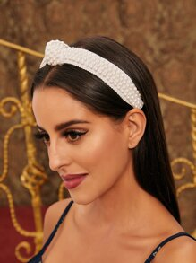 Faux Pearl Beaded Knot Decor Headband