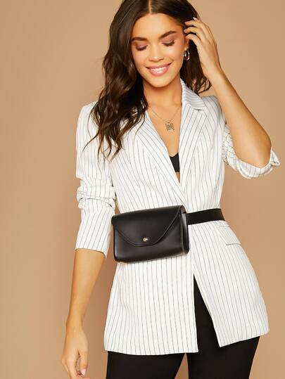 Notched Collar Striped Blazer Without Bag