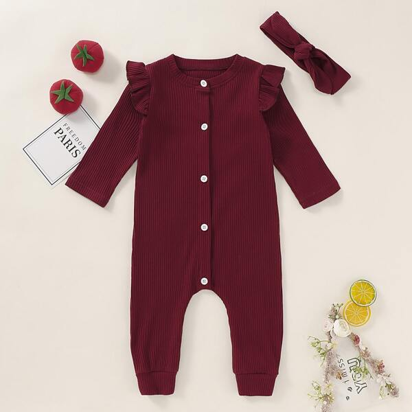 Baby Girl Button Front Frill Rib-knit Jumpsuit With Headband, Burgundy