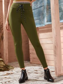 Solid Lace Up Waist Skinny Leggings