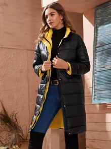 Flap Pocket Zipper Puffer Coat