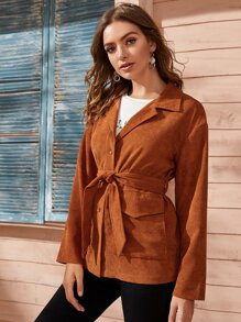 Corduroy Lapel Neck Flap Pocket Belted Coat