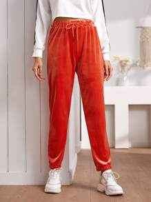 Velvet Solid Drawstring Waist Sweatpants