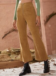 Corduroy Zipper Fly Flare Pants