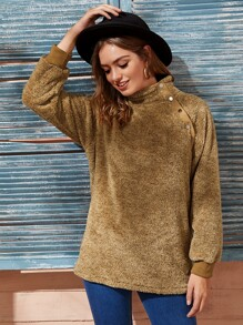 High Neck Oblique Button Teddy Sweatshirt