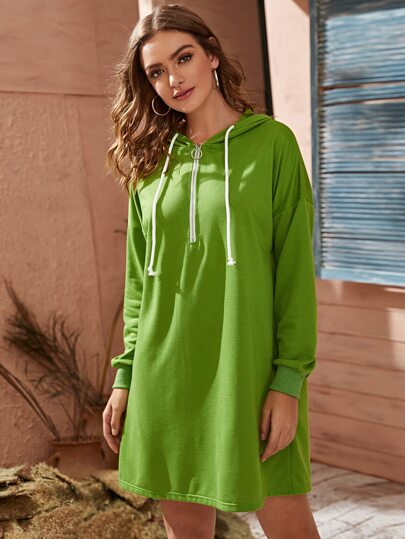 Half Zipper Drawstring Hoodie Dress