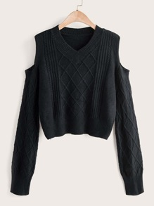 V-neck Open Shoulder Texture Knit Sweater