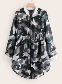 Plus Camo Print Curved Hem Bomber Jacket