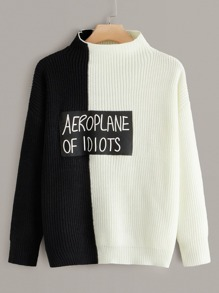 Plus Two Tone Slogan Graphic Sweater