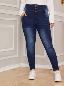 Plus Wide Band Waist Washed Jeans