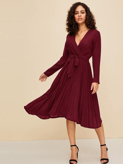Pleated Hem Surplice Belted Dress
