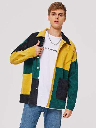 Guys Colorblock Patch Pocket Corduroy Jacket