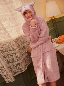 Plush Fox Hooded Robe With Belt