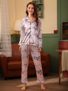 Leaf Print Satin PJ Set