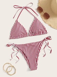 Striped Triangle Top With Tie Side Bikini
