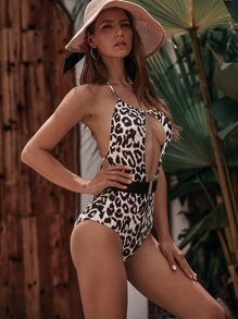 Cut-out Random Leopard One Piece Swimwear
