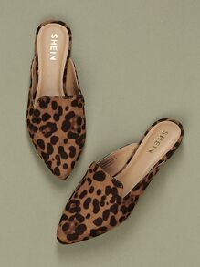 Pointed Toe Leopard Flat Slide Mules