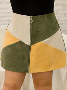 Plus Zip Up Cut And Sew Corduroy Skirt